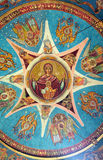 Christ Pantocrator. The canopy of heaven, painting on the Orthodox church vault, Deva, Romania royalty free stock photo
