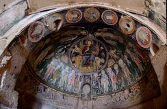 Christ Pantocrator fresco in cave crusader`s church ,Cappadocia Royalty Free Stock Image
