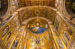 Christ Pantocrator mosaic inside Cathedral of Monreale. Christ Pantocrator mosaic inside Cathedral of Monreale near Palermo, Sicily, Italy royalty free stock images