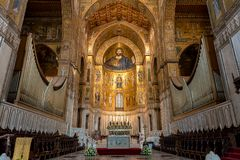 Christ Pantocrator mosaic inside Cathedral of Monreale. Stock Photos