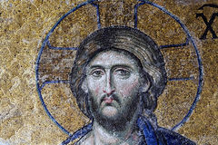 Christ Pantocrator ruler mosaic in Hagia Sophia. Detail of Deësis mosaic .One of the famous mosaics in the Hagia Sophia Istabuł Turkey Royalty Free Stock Photo