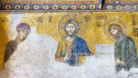 Christ Pantocrator. 13th century Deesis Mosaic of Jesus Christ flanked by the Virgin Mary and John the Baptist. Interior of Hagia Sophia Museum in Istanbul Stock Photos