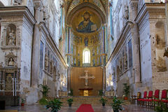 Christ Pantokrator. Cathedral-Basilica of Cefalu,, Sicily, southern Italy Royalty Free Stock Photos