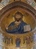 The Christ Pantokrator. Cathedral of Cefalu stock image