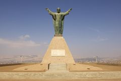 Christ of Peace monument, bearing the Peruvian and Chilean coats of arms at El Morro hill in Arica, Chile. Stock Images