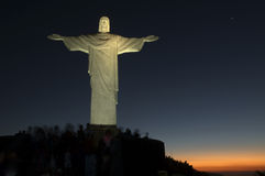 Christ The Redeemer. Statue Of Christ The Redeemer - The Corcovado - an Art Deco-style statue of Jesus Christ in Rio de Janeiro City. It is the symbol of the Stock Photo
