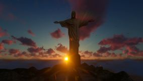 Christ the Redeemer above clouds at sunset, Rio de Janeiro, tilt front view royalty free illustration