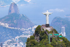 Christ Redeemer. Aerial view of Christ Redeemer and Corcovado Mountain Royalty Free Stock Image
