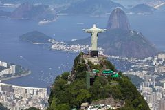 Christ the Redeemer. Aerial View of Rio De Janeiro and Christ the Redeemer Stock Photo