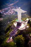 Christ The Redeemer. Aerial view of Christ the Redeemer statue on top of Corcovado, Rio de Janeiro, Brazil Stock Photo