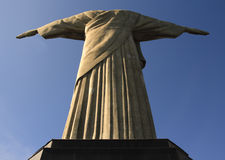 Christ the redeemer back view. A view from behind the Christ the Redeemer, O Cristo Redentor, a statue of Jesus Christ in Rio de Janeiro, Brazil Royalty Free Stock Image