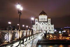 Christ Redeemer cathedral in Moscow at night Royalty Free Stock Photos
