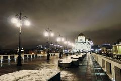 Christ Redeemer cathedral in Moscow at night Stock Photos