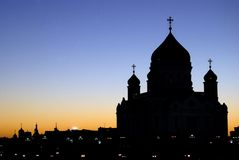 Christ Redeemer cathedral in Moscow. Silhouette. Stock Photo