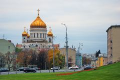 Christ the Redeemer church in Moscow. Autumn trees. Stock Photos