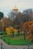 Christ the Redeemer church in Moscow. Autumn trees. Stock Image