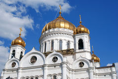 Christ the Redeemer Church in Moscow. Blue evening sky background Stock Photos