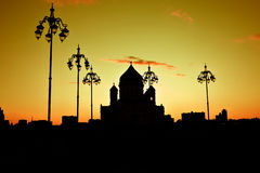 Christ the Redeemer Church in Moscow. Silhouette Stock Photography