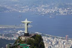 Christ Redeemer and city view Stock Image