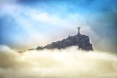 Christ the Redeemer in clouds, Rio de Janeiro Royalty Free Stock Image