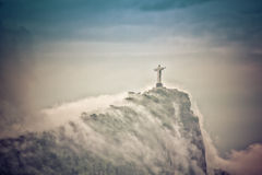 Christ the Redeemer in clouds, Rio de Janeiro Royalty Free Stock Photo