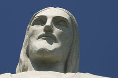 Christ the Redeemer at Corcovado Face Close-Up Stock Images