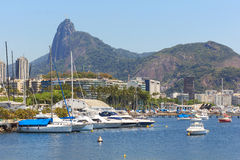 Christ the Redeemer Corcovado Guanabara bay boats yacht, Rio de Royalty Free Stock Photo