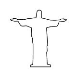 Christ the redeemer or corcovado sculpture icon image Royalty Free Stock Image