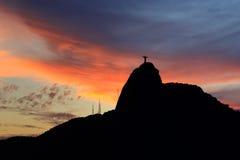 Christ the Redeemer Corcovado Sunset  Rio de Janeiro Royalty Free Stock Photo