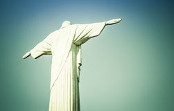 Christ the Redeemer looking at Rio de Janeiro Stock Photo