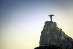 Christ the Redeemer looking at Rio de Janeiro Royalty Free Stock Photos