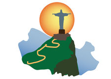 Christ Redeemer of Rio de Janeiro. Tourism icon if christ the Redeemer corcavado of Rio de Janeiro royalty free illustration