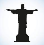 Christ the Redeemer, Rio de Janeiro, Brazil. Vector sketch Stock Images