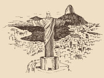 Christ the Redeemer Rio de Janeiro city, Brazil. Vintage engraved illustration, hand drawn Royalty Free Stock Photos