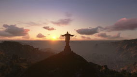 Christ the Redeemer, Rio de Janeiro, sunrise royalty free illustration