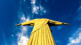 Christ the Redeemer - Rio. The view fro  behind the statue of Christ - Rio de Janiero - Brazil Royalty Free Stock Photography