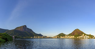 Christ Redeemer and Rodrigo de Freitas lagoon Royalty Free Stock Photos