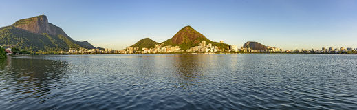 Christ Redeemer and Rodrigo de Freitas lagoon Stock Images