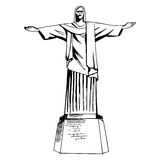 Christ the Redeemer statue. Christ the Redeemer hand drawn statue Royalty Free Stock Images