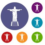 The Christ the Redeemer statue icons set Royalty Free Stock Photography