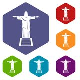 The Christ the Redeemer statue icons set hexagon. Isolated vector illustration Royalty Free Stock Image
