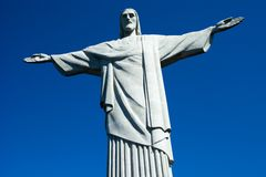 Christ the Redeemer statue in Rio de Janeiro in Brazil.  Royalty Free Stock Photo