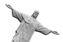 Christ the Redeemer Statue, Rio de Janeiro, Brazil. Black and white Royalty Free Stock Images