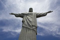 Christ the Redeemer Statue in Rio de Janeiro, Brazil. Rio samba city of cultures laugh. The river is you more Stock Photo