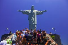 CHRIST THE REDEEMER STATUE, RIO`S AT FULL DAY. royalty free stock image