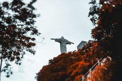 Christ the Redeemer statue surrounded by ginger trees Royalty Free Stock Photo