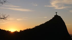 Christ the Redeemer statue on top of Corcovado, Rio de Janeiro, Brazil on sunset. stock image