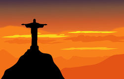 Christ The Redeemer & Sunset Landscape - Vector. Christ The Redeemer & Sunset Landscape is a  illustration Royalty Free Stock Photo