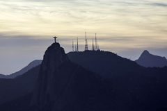 Christ the Redeemer at sunset in Rio de Janeiro Royalty Free Stock Image