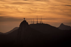 Christ the Redeemer at sunset in Rio de Janeiro Royalty Free Stock Photography